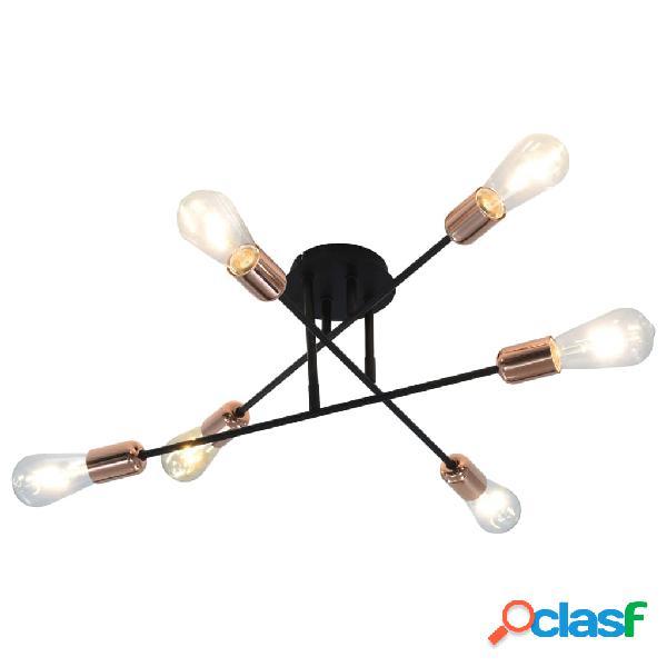 Vidaxl candeeiro teto c/ lâmpadas incandescência 2 w preto/cobre e27