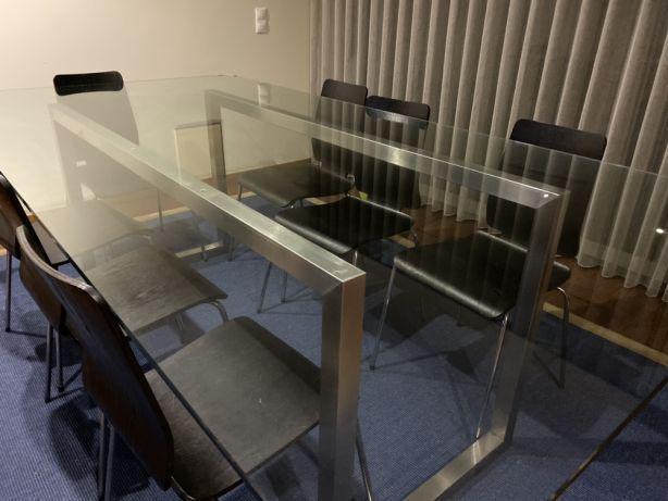 Mesa vidro e inox