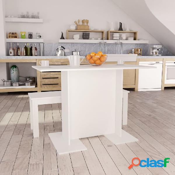 Vidaxl mesa de jantar 110x60x75 cm contraplacado branco