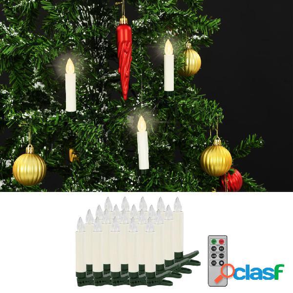 Vidaxl velas led sem fios com controlo remoto 20 pcs branco quente