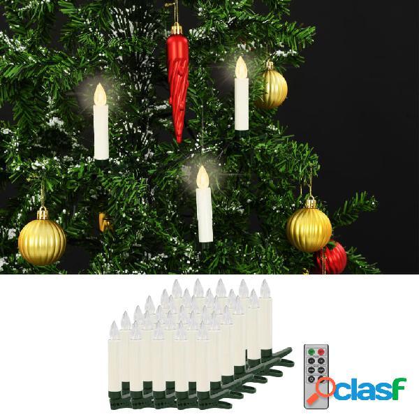 Vidaxl velas led sem fios com controlo remoto 30 pcs branco quente