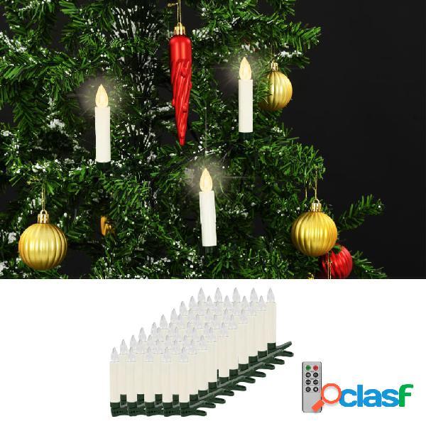 Vidaxl velas led sem fios com controlo remoto 50 pcs branco quente