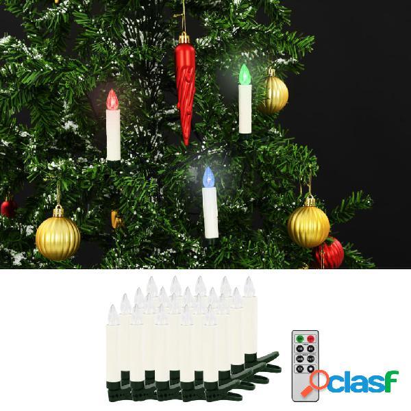 Vidaxl velas led sem fios de natal com controlo remoto 20 pcs rgb