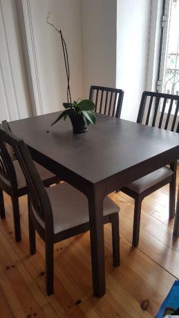Conjunto mesa extensível e 4 cadeiras ikea ekedalen