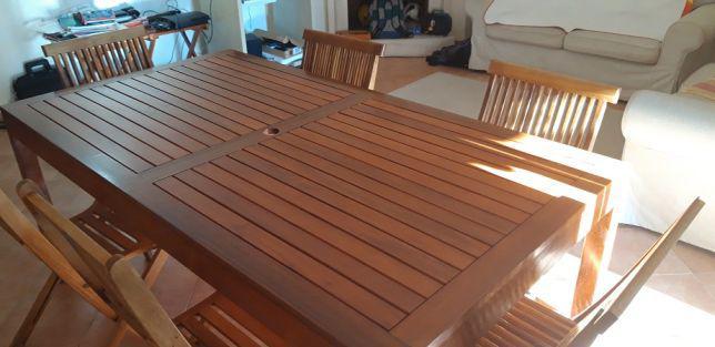 Mesa de jardim em acácia 180x97cm acabamento em verniz