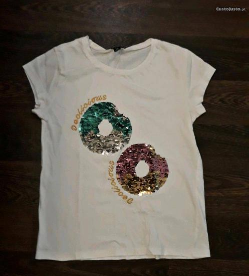 T-shirt com lantejoulas dupla face