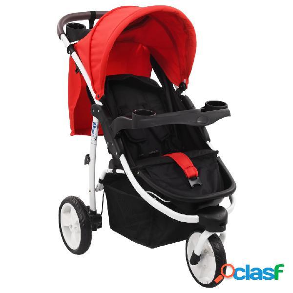 Vidaxl carrinho de bebé com três rodas vermelho e preto