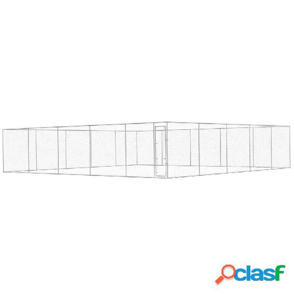Vidaxl canil de exterior em aço galvanizado 10x10x2 m