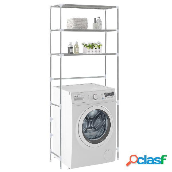 Vidaxl estante de 3 prateleiras p/ lavandaria 69x28x169 cm prateado