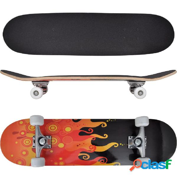 "Vidaxl skate oval, 9 camadas de bordo, design ""fogo"", 8"""