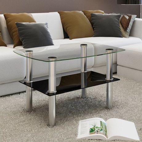 Vidaxl mesa de centro em vidro, 2 camadas 240341