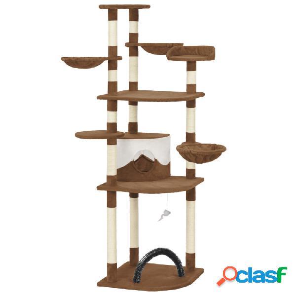 Vidaxl árvore para gatos com postes arranhadores sisal castanho 190 cm