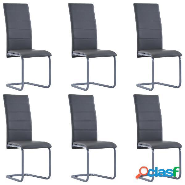 Vidaxl cadeiras de jantar 6 pcs couro artificial cinzento