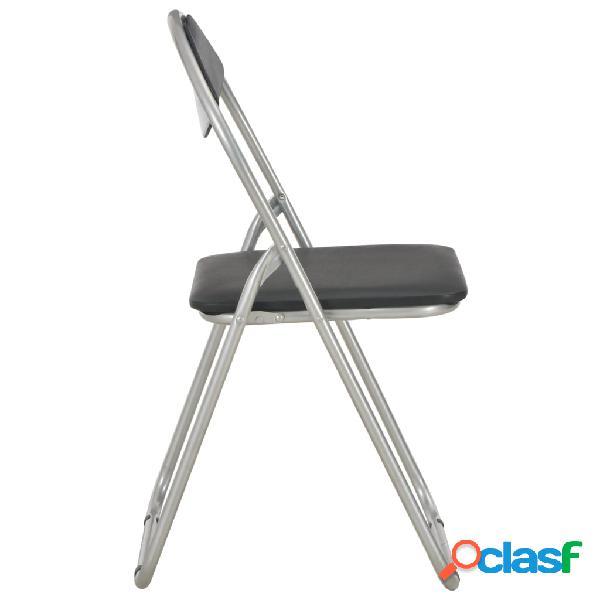 vidaXL Cadeiras de jantar dobráveis 4 pcs couro artificial preto 3