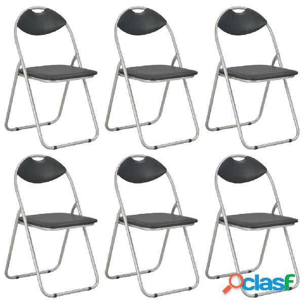 Vidaxl cadeiras de jantar dobráveis 6 pcs couro artificial preto