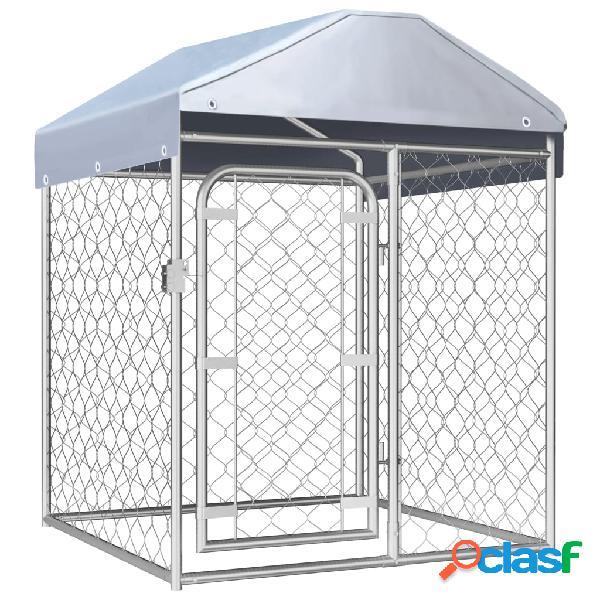 vidaXL Canil de exterior com telhado 100x100x125 cm