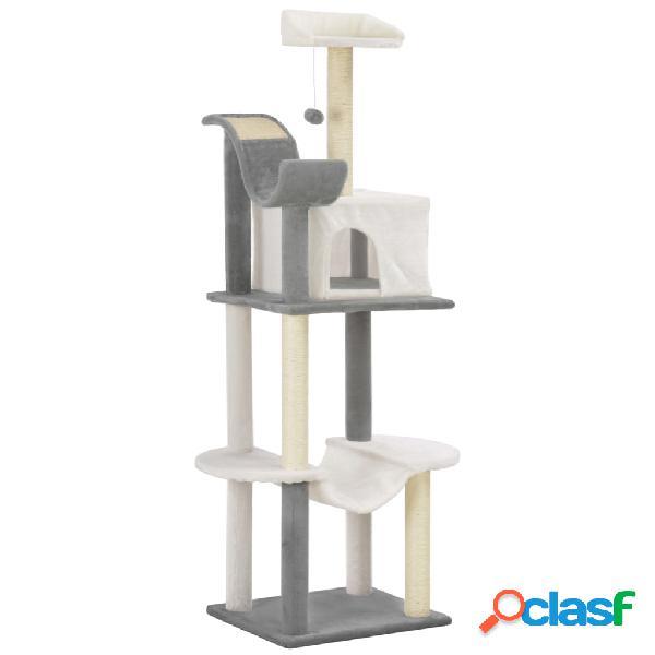 Vidaxl árvore gatos c/ postes arranhadores sisal 155cm cinzento/branco