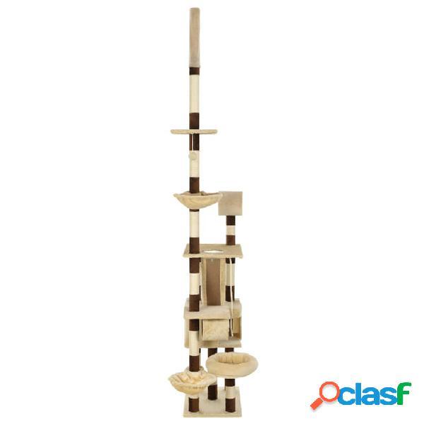 vidaXL Árvore p/ gatos com arranhadores sisal 246-280 cm bege/castanho 1