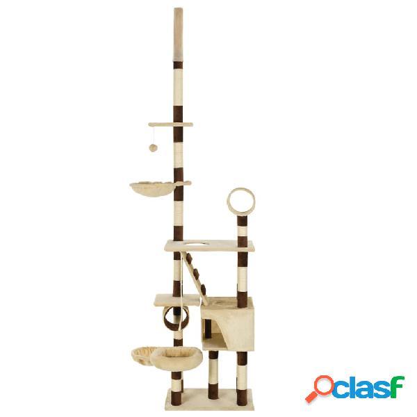 vidaXL Árvore p/ gatos com arranhadores sisal 246-280 cm bege/castanho 3