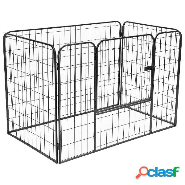 Vidaxl parque para cães resistente 120x80x70 cm aço preto