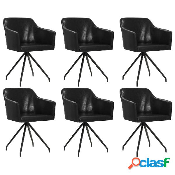 Vidaxl cadeiras de jantar giratórias 6 pcs couro artificial preto
