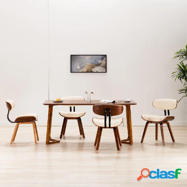 Vidaxl cadeiras jantar 4 pcs madeira curvada e couro artificial creme