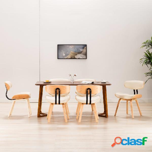 Vidaxl cadeiras jantar 6 pcs madeira curvada e couro artificial creme