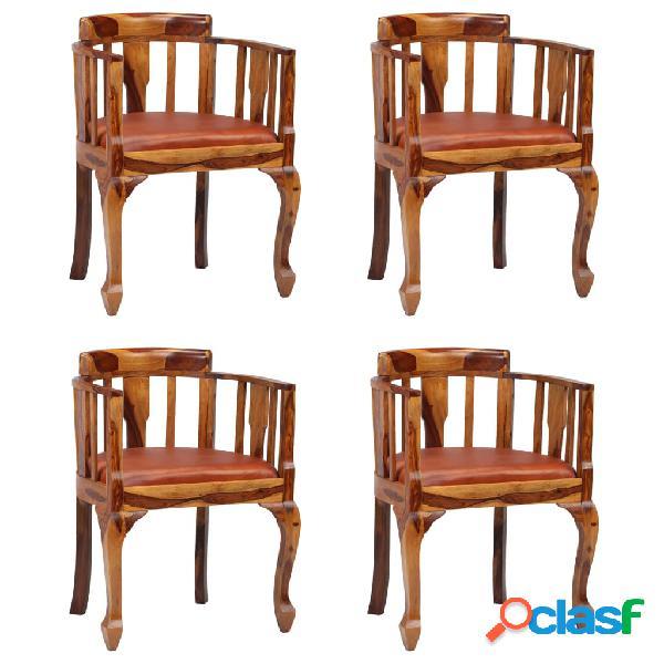 Vidaxl cadeiras jantar 4 pcs couro genuíno + madeira sheesham maciça