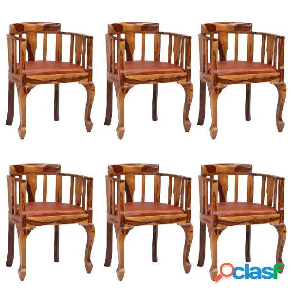 Vidaxl cadeiras jantar 6 pcs couro genuíno + madeira sheesham maciça