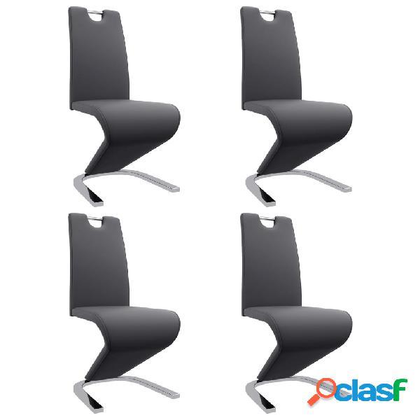 Vidaxl cadeiras jantar em ziguezague 4 pcs couro artificial cinzento