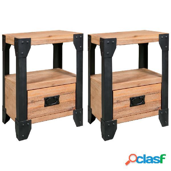 Vidaxl mesas de cabeceira 2 pcs 40x30x54 cm madeira acácia maciça/aço