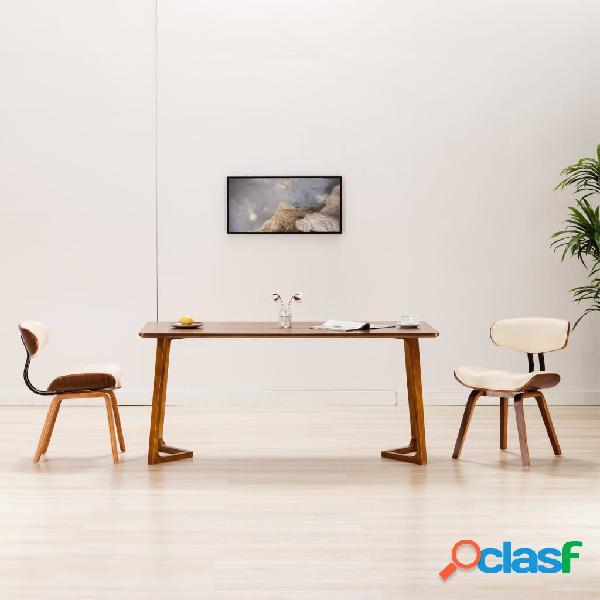 Vidaxl cadeiras jantar 2 pcs madeira curvada e couro artificial creme