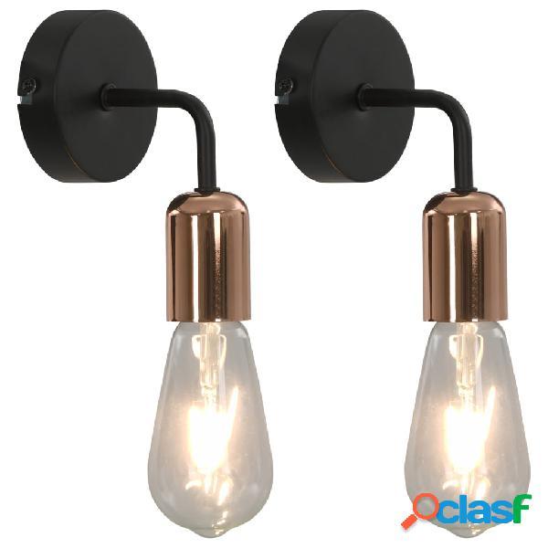 Vidaxl candeeiros parede 2 pcs lâmpadas de incand. 2 w preto/cobre e27