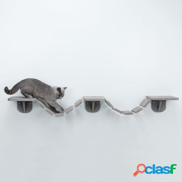 TRIXIE Escada escalada gatos de parede 150x30 cm cinzento-acastanhado 2