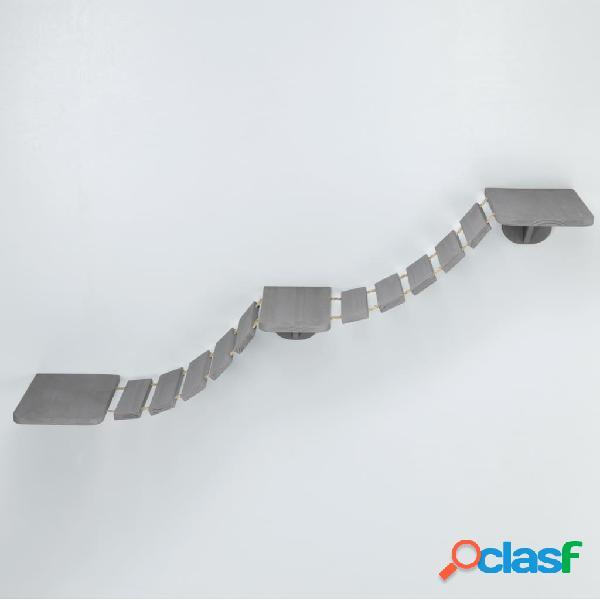 TRIXIE Escada escalada gatos de parede 150x30 cm cinzento-acastanhado 3