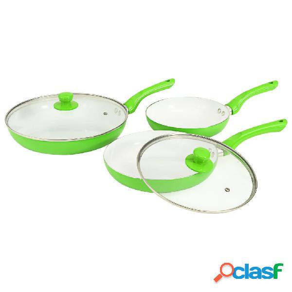 Vidaxl 5 pcs conjunto frigideiras em alumínio verde