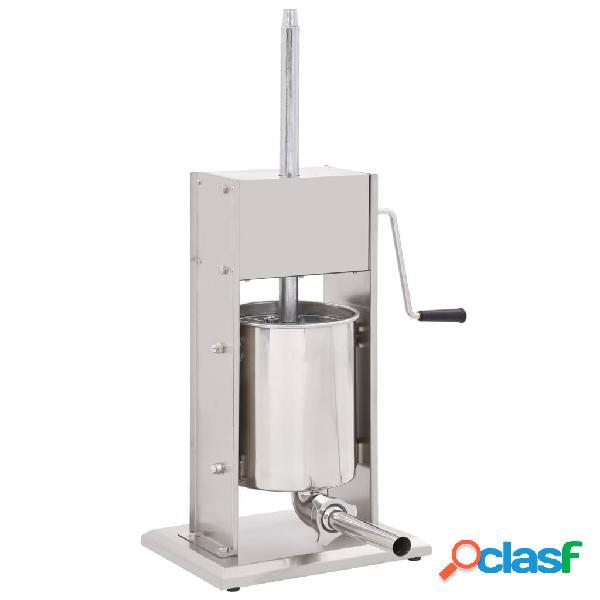 Vidaxl máquina de enchidos manual 10 l aço inoxidável prateado