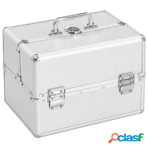 Vidaxl caixa de maquilhagem 22x30x21 cm alumínio prateado