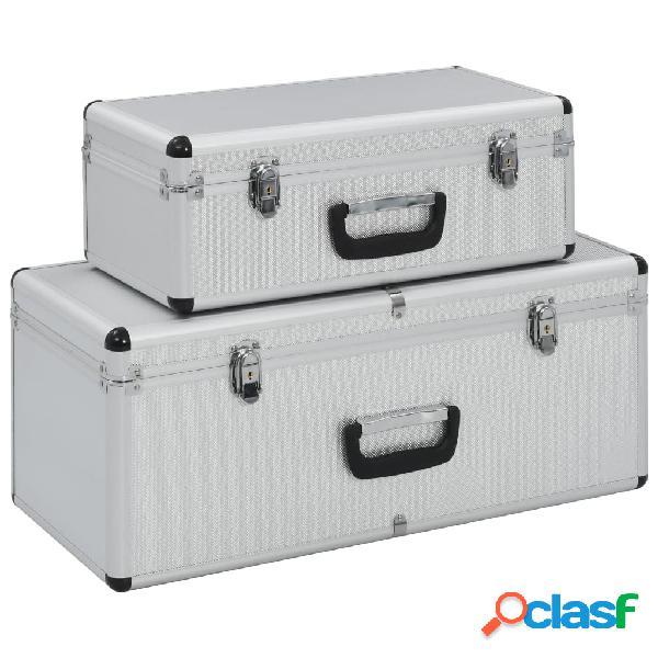vidaXL Caixas de arrumação 2 pcs alumínio prateado