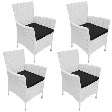 Vidaxl cadeiras de jardim 4 pcs com almofadões vime pe