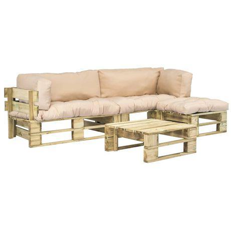 Vidaxl sofás de paletes p/ ext. 4 pcs almofadões cor areia