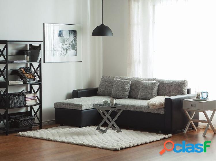 Sofá de canto - cinza - tecido - chaise longue - sofá-cama - com arrumação - tampere