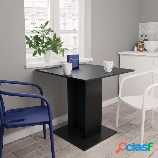 vidaXL Mesa de jantar 80x80x75 cm contraplacado preto