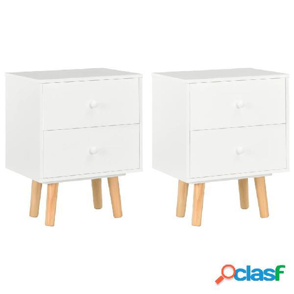 Vidaxl mesas cabeceira 2 pcs 40x30x50cm madeira de pinho maciça branco