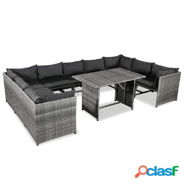 vidaXL 10 pcs conjunto lounge de jardim c/ almofadões vime PE cinzento