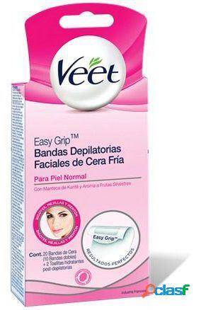 Veet bandas de cera faciais depilatórias pele normal 20 peças