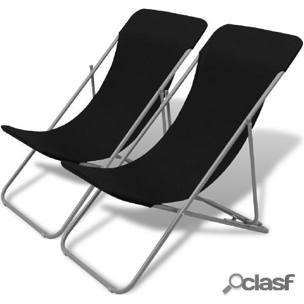 Vidaxl cadeiras de praia dobráveis 2 pcs aço revestido a pó preto
