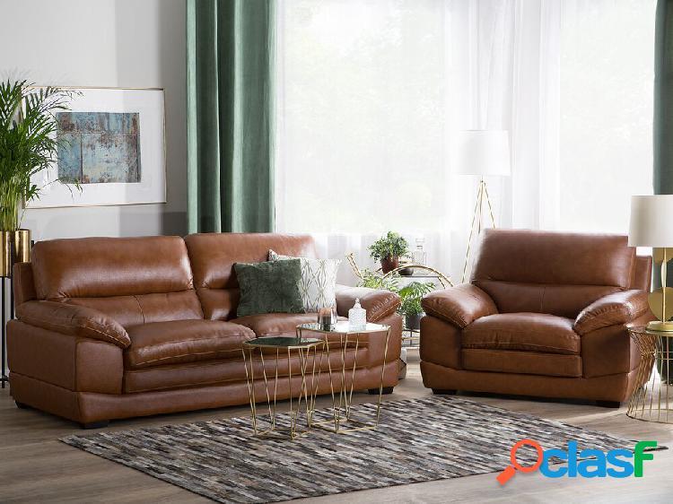 Conjunto de sofás reclináveis em pele marrom dourado horten