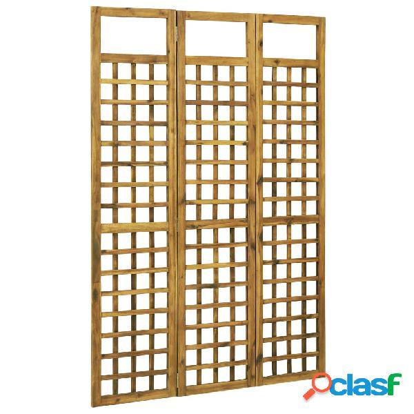 vidaXL Biombo/treliça 3 painéis madeira de acácia maciça 120x170 cm