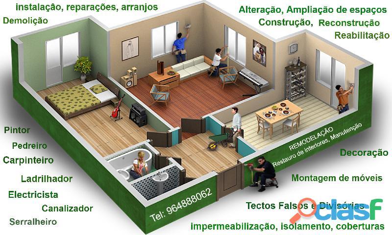 Pedreiro, Ladrilhador, Canalizador, Pintor,. . Remodelação interiores.